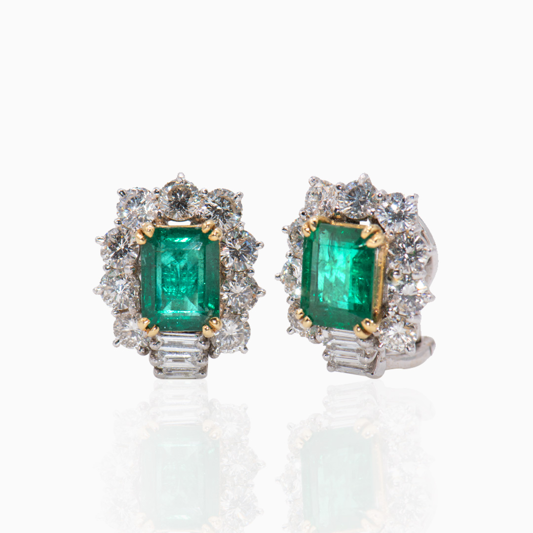 Pendientes de Oro y Oro Blanco con Esmeraldas y Diamantes