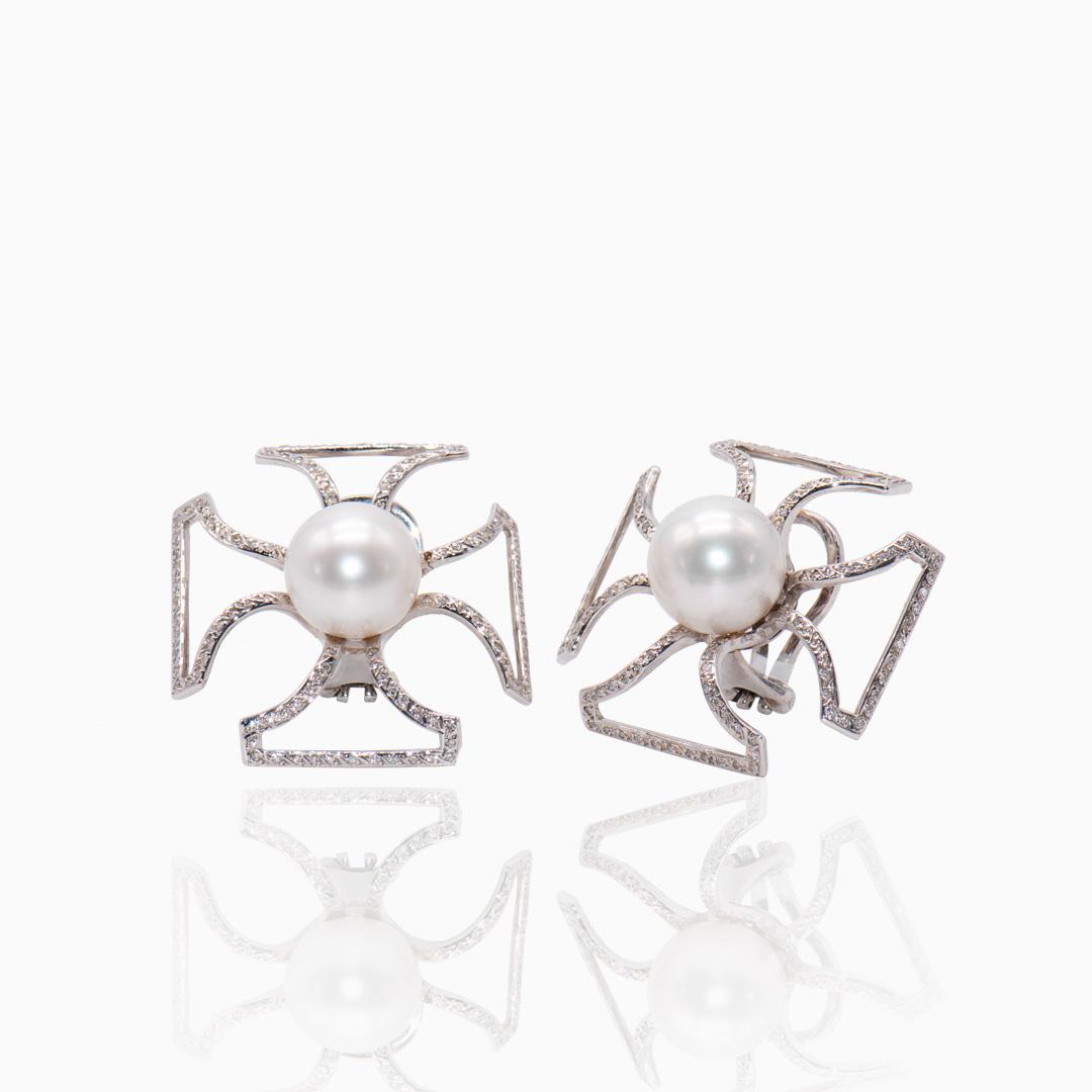 Pendientes Oro Blanco Perlas Australiana y Diamantes