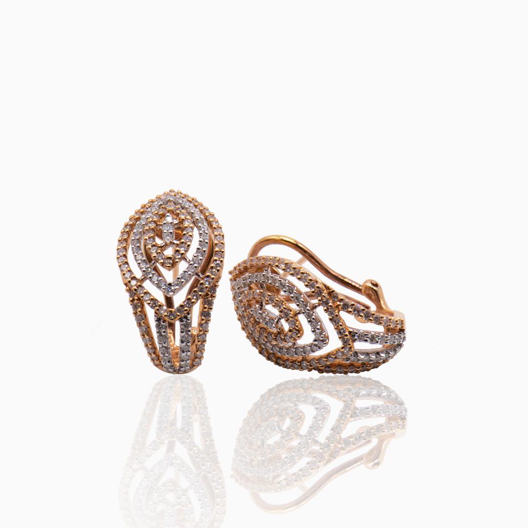 Pendientes Oro Rosa Oro Blanco y Diamantes