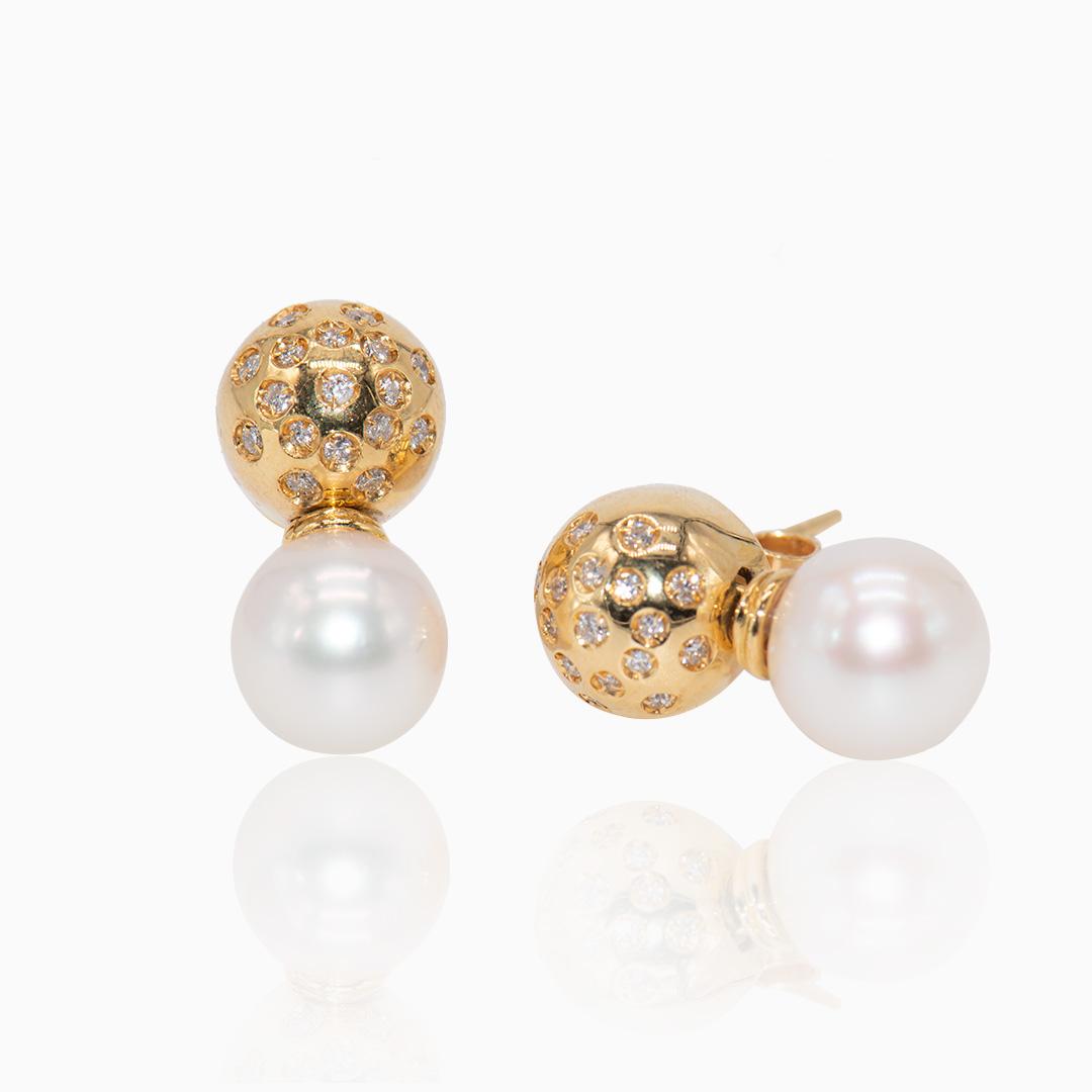 Pendientes de Oro Perla Japonesa y Diamantes
