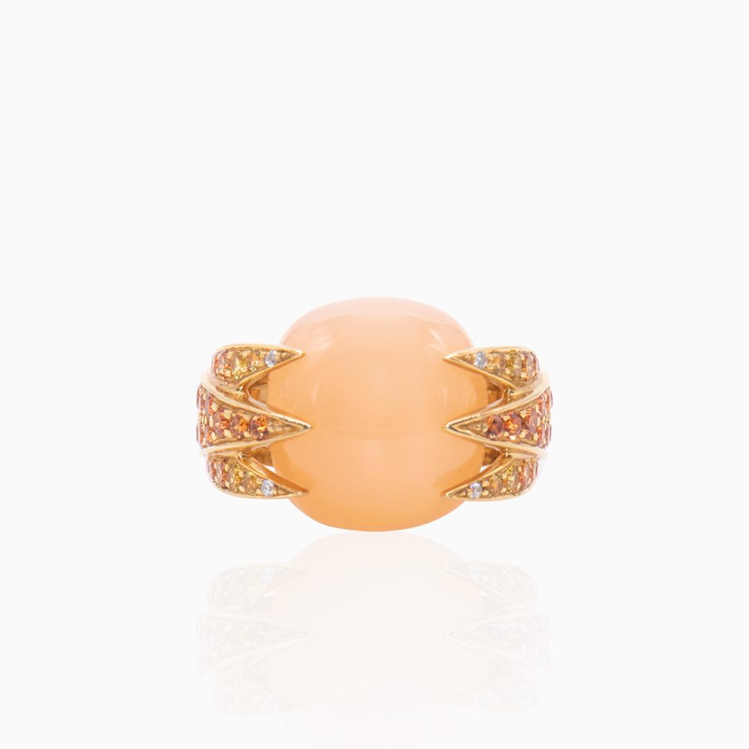 Anillo de Oro Piedra Luna Adularia, Zafiros y Diamantes