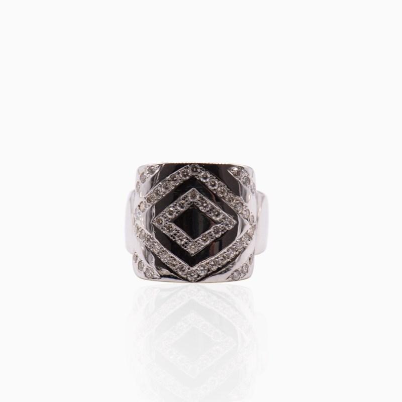 Anillo Oro Blanco y Diamantes en Rombos