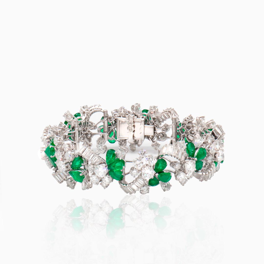 Pulsera Platino Esmeraldas y Diamantes