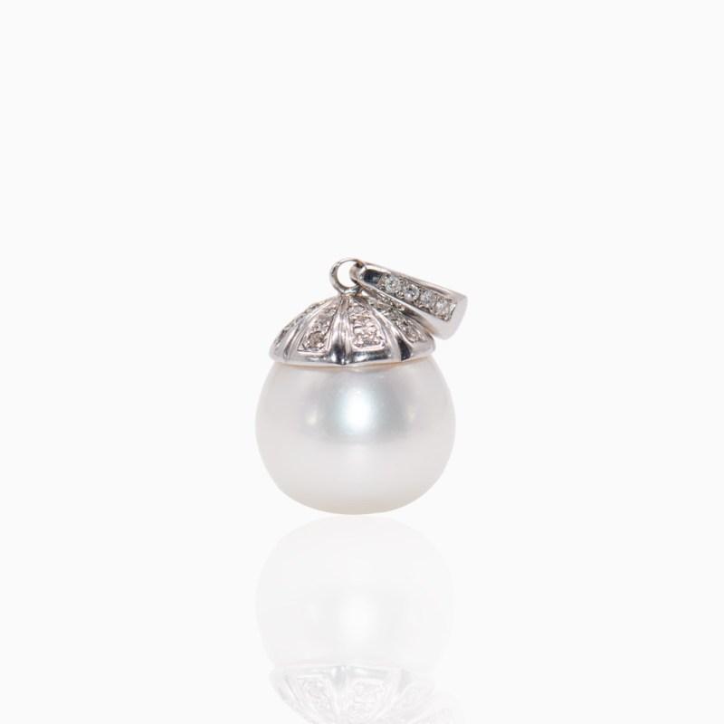Colgante Oro Blanco Perla Australiana y Diamantes