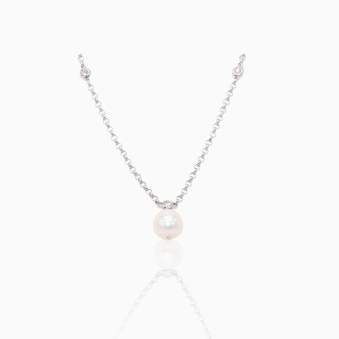 Gargantilla Oro Blanco Perla Australiana y Diamantes