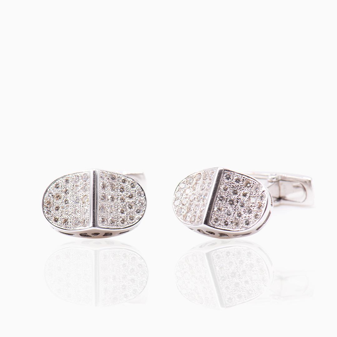 Gemelo Oro Blanco y Diamantes