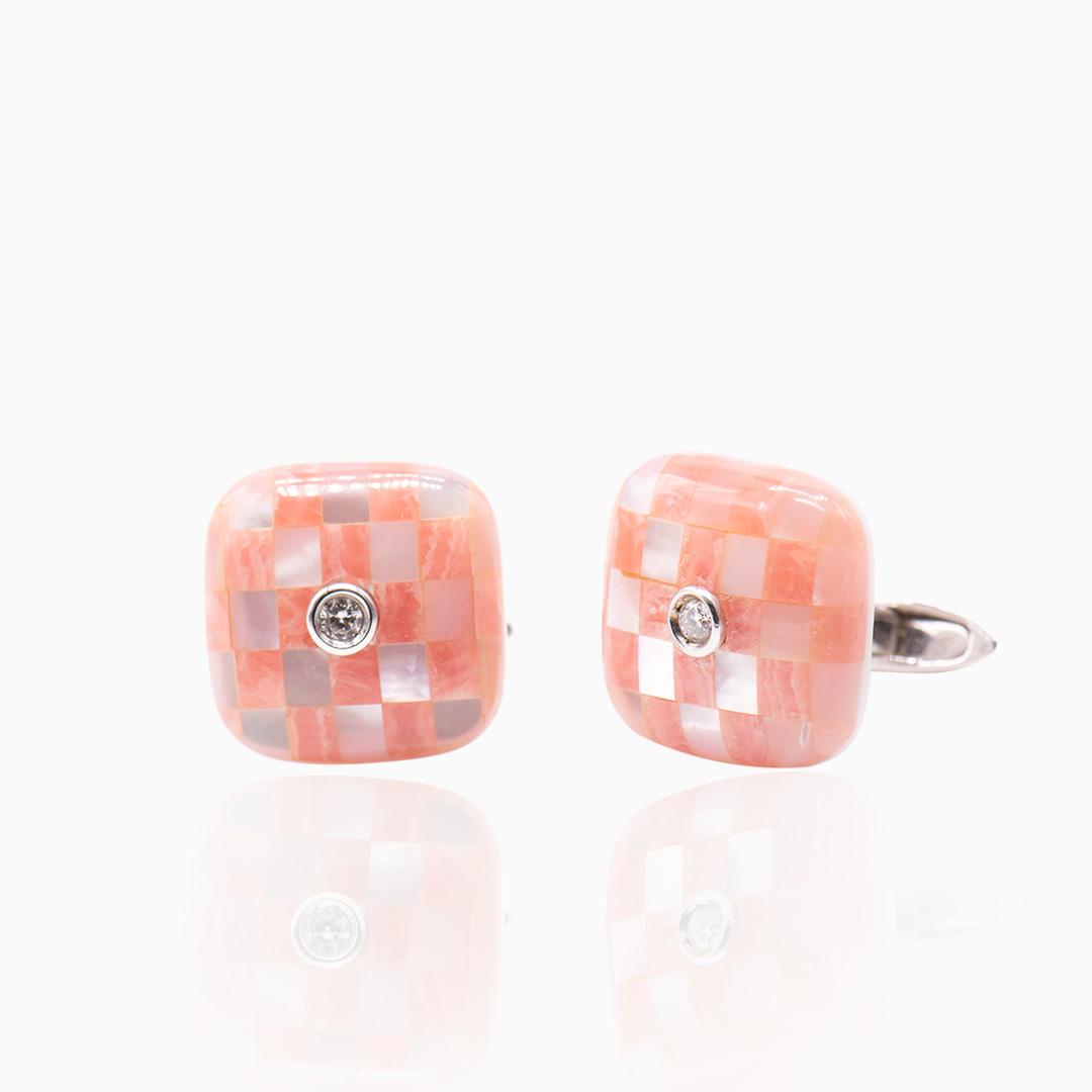 Gemelo Oro Blanco Nácar Cuarzo Rosa y Diamantes