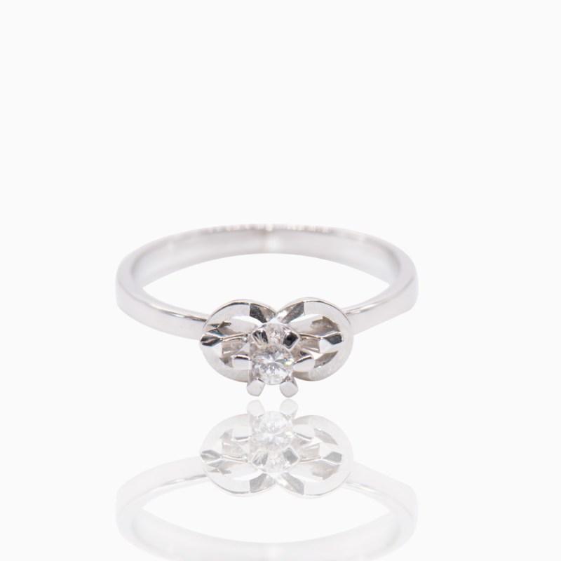 Anillo Solitario Oro Blanco y Diamante
