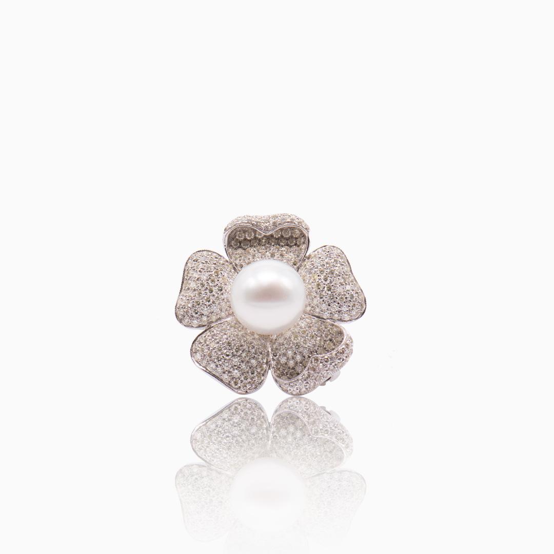 Broche Colgante Oro Blanco Perla Australiana y Diamantes