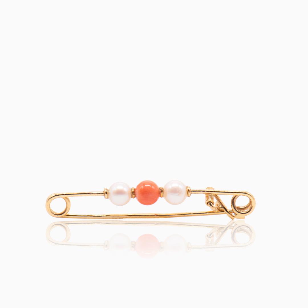 Pasador de Oro Perlas y Coral