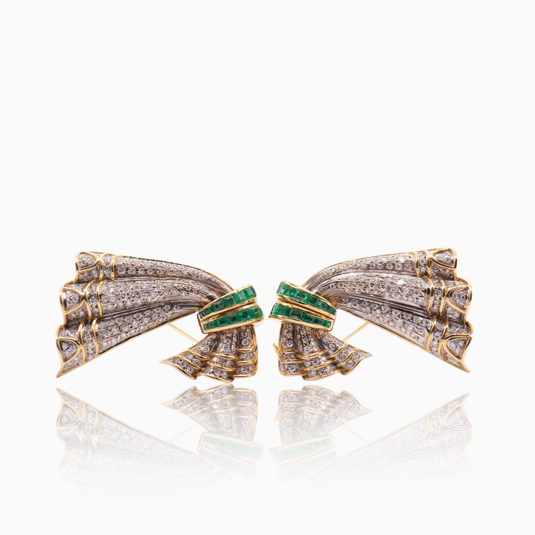 Broche de Oro Diamantes y Esmeraldas