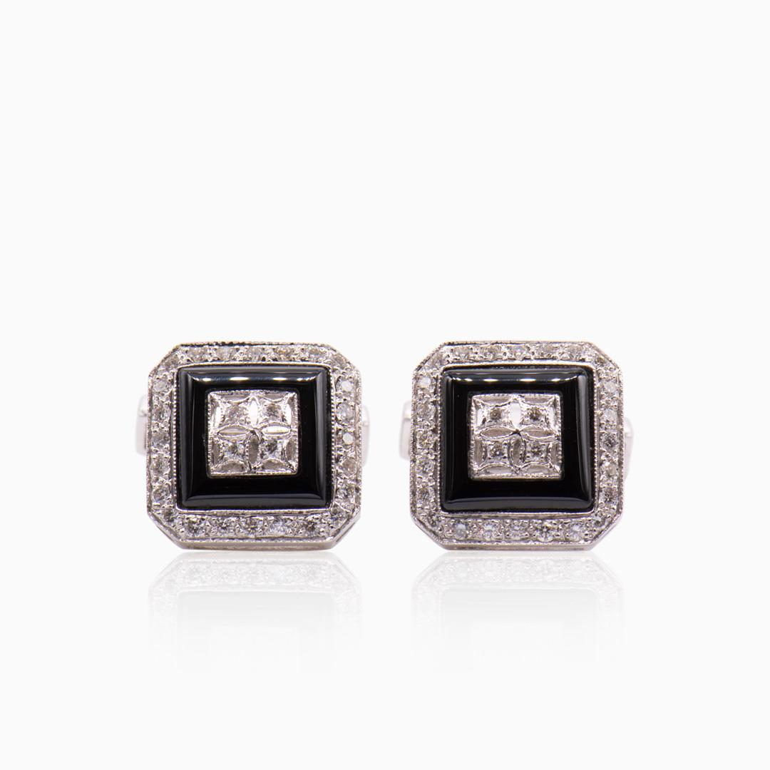 Gemelos Oro Blanco Ónix y Diamantes