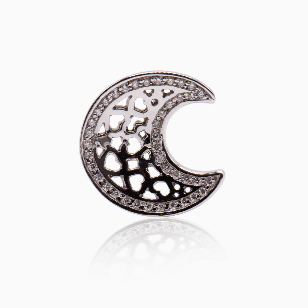 Colgante Oro Blanco y Diamantes con forma de Luna