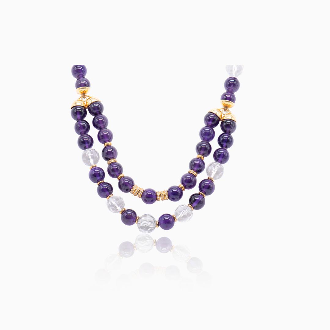 Collar de Oro, Amatista, Cristal de Roca y Diamantes
