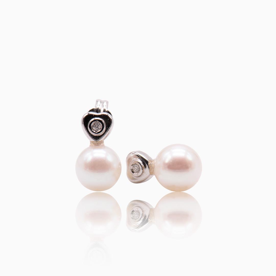 Pendientes Oro Blanco con Diamante y Perla Japonesa