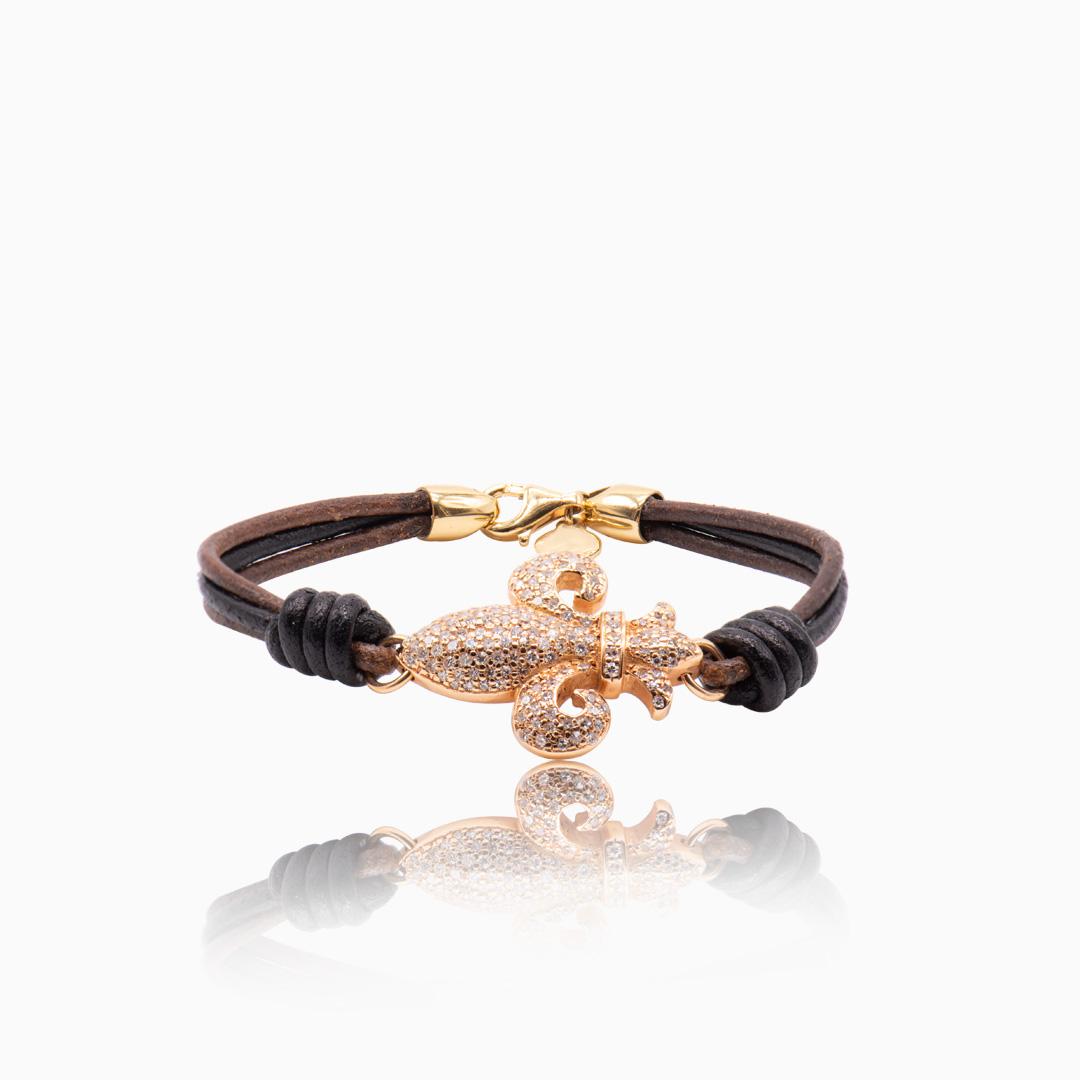 Pulsera Cuero, Oro Rosa y Diamantes