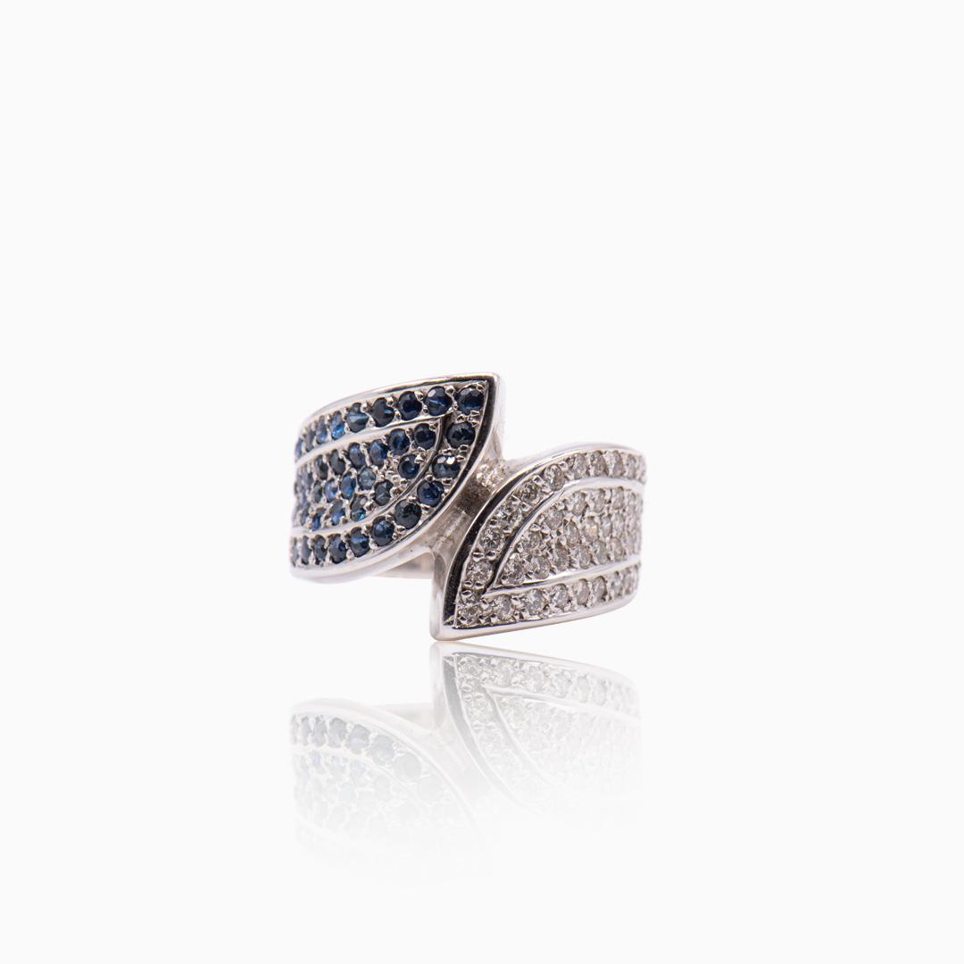 Anillo Oro Blanco Zafiros y Diamantes