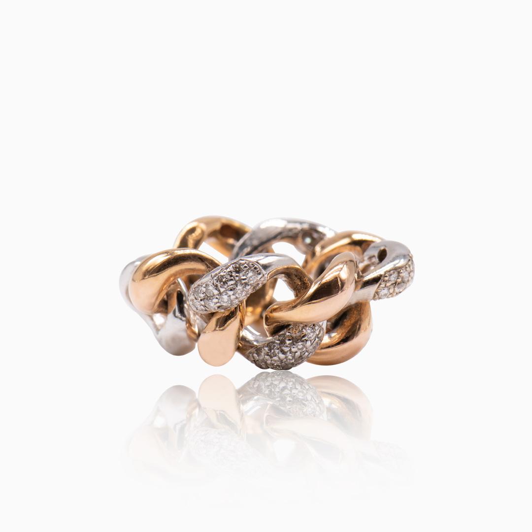 Anillo Oro Rosa Oro Blanco y Diamantes