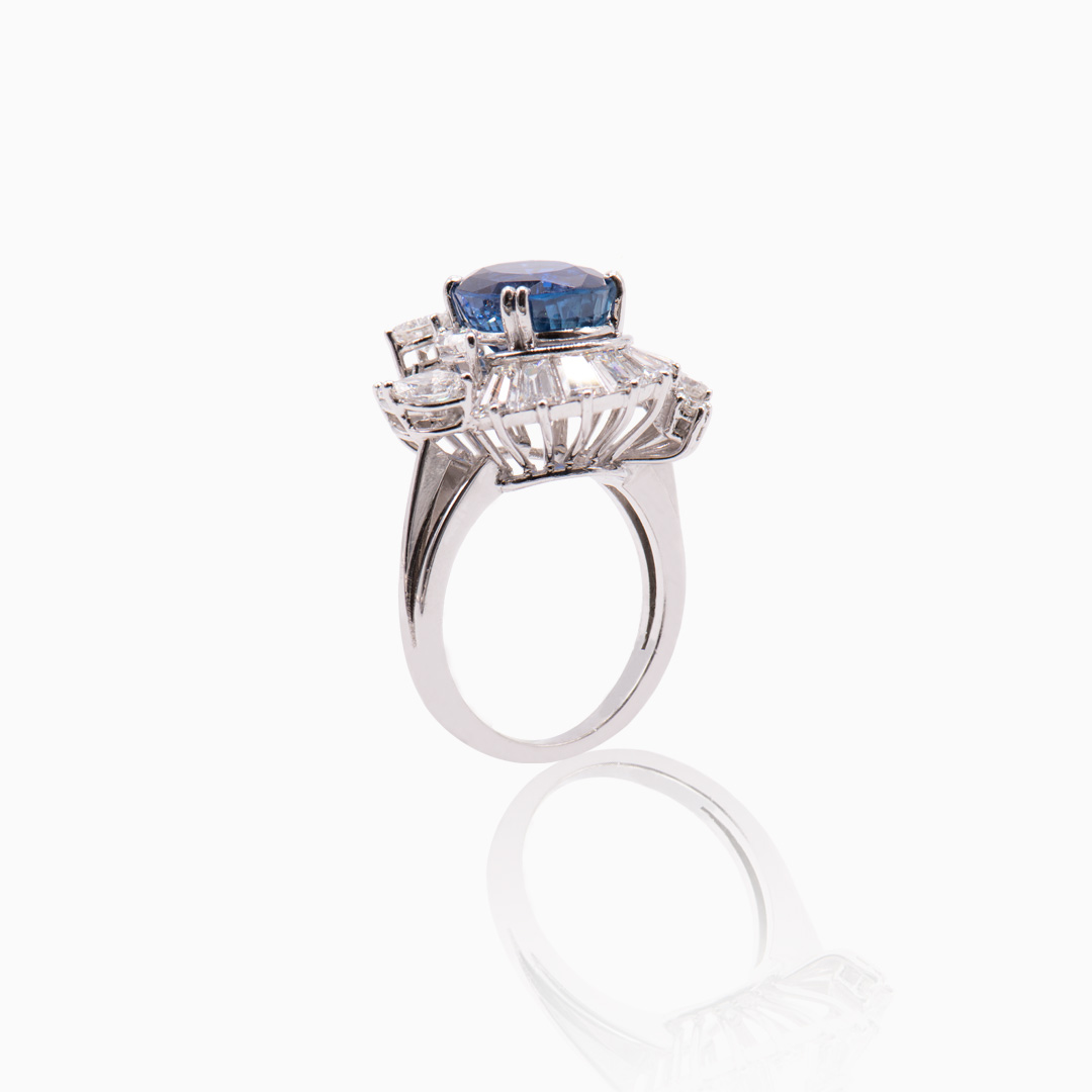 Anillo Platino Zafiro y Diamantes