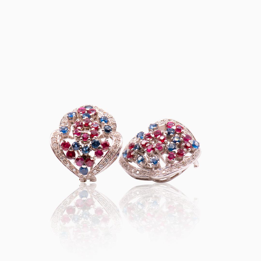 Pendientes Oro Blanco con Rubíes Zafiros y Diamantes
