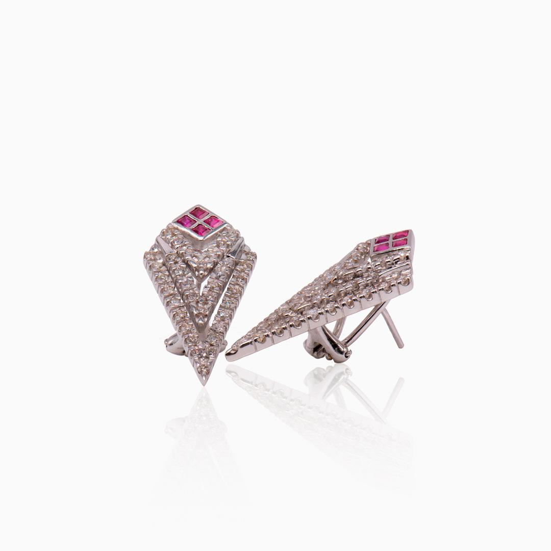 Pendientes Oro Blanco con Zafiros y Diamantes