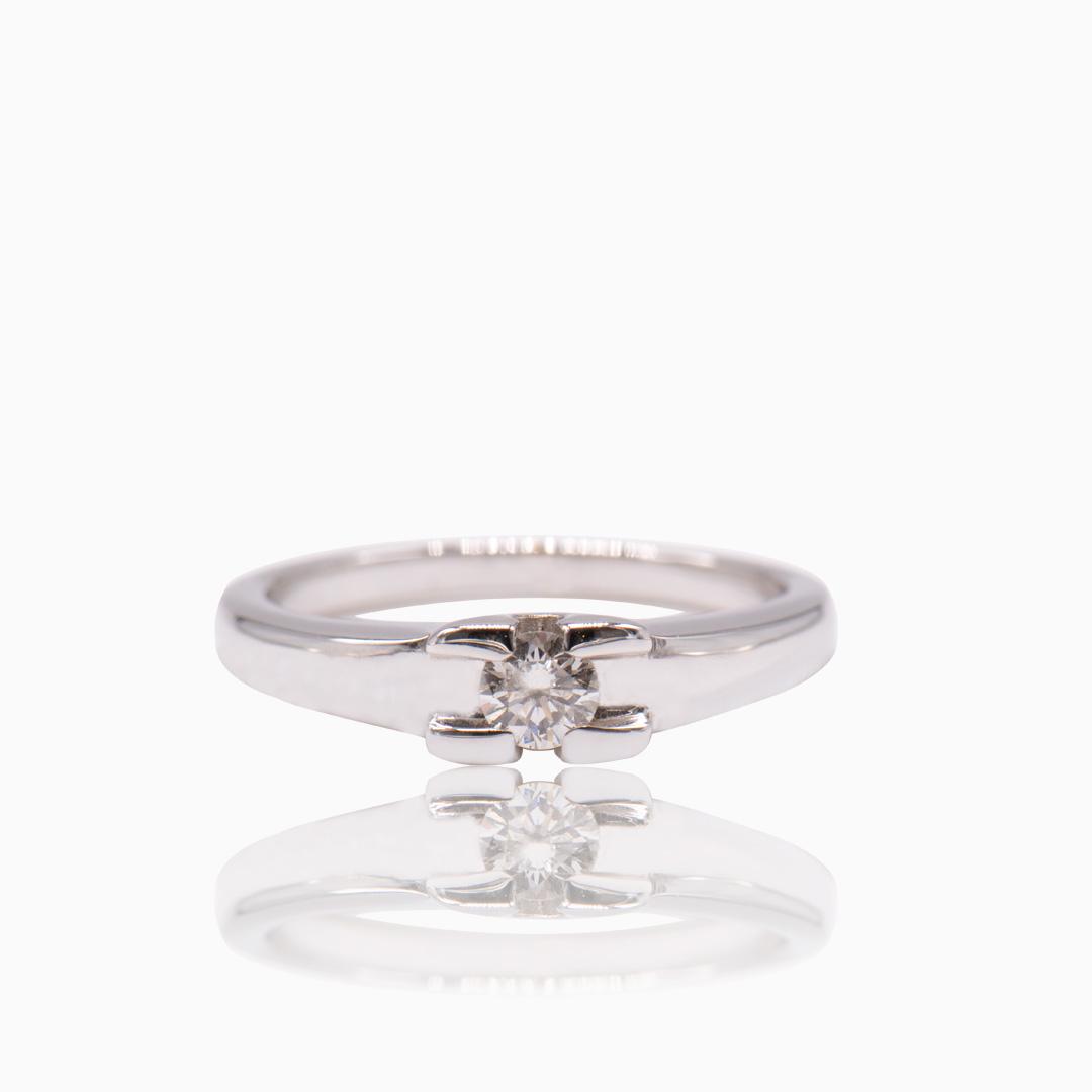 Solitario Oro Blanco y Diamante