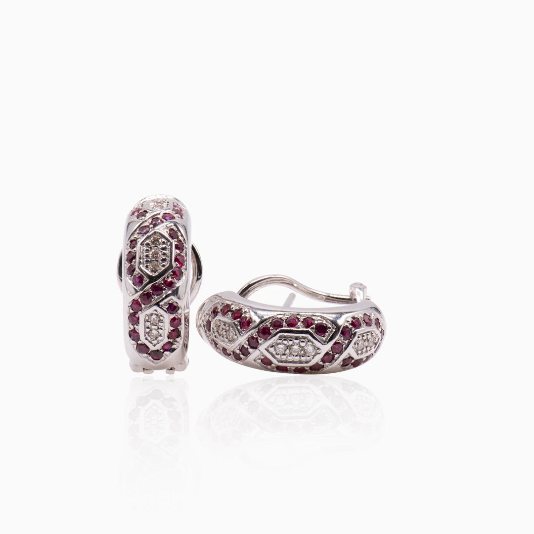 Pendientes Oro Blanco Rubís y Diamantes