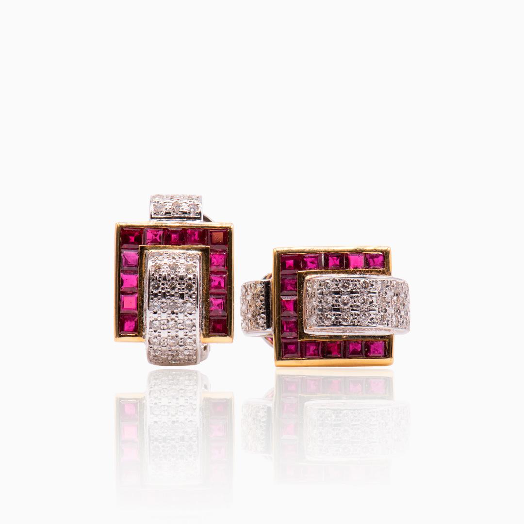 Pendientes Oro Blanco combinados con Oro Amarillo Rubís y Diamantes