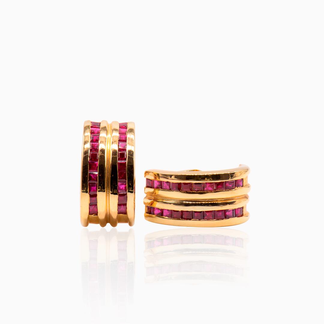 Pendientes dobles de Oro y Rubís
