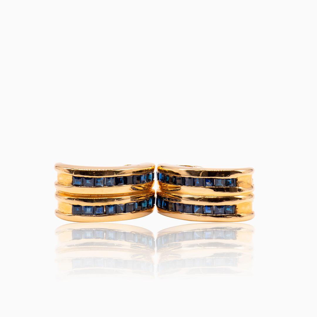 Pendientes dobles de Oro y Zafiros
