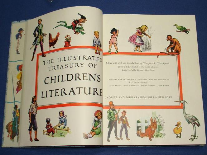 1955_THE_ILLUSTRATED_TREASURY_OF_CHILDRENS_LITERATURE_MARGARET_MARTIGNONI_GROSSET_DUNLAP_TITLE_PAGES