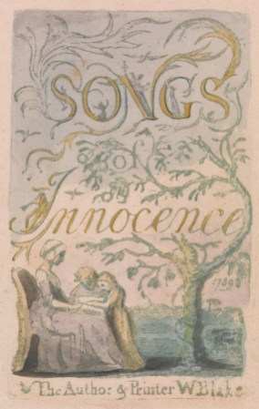 William Blake, 1757–1827, British, Songs of Innocence and of Experience, Plate 2, Innocence Title Page (Bentley 3), 1789, Relief etching printed in green with pen and ink and watercolor, Yale Center for British Art, Paul Mellon Collection