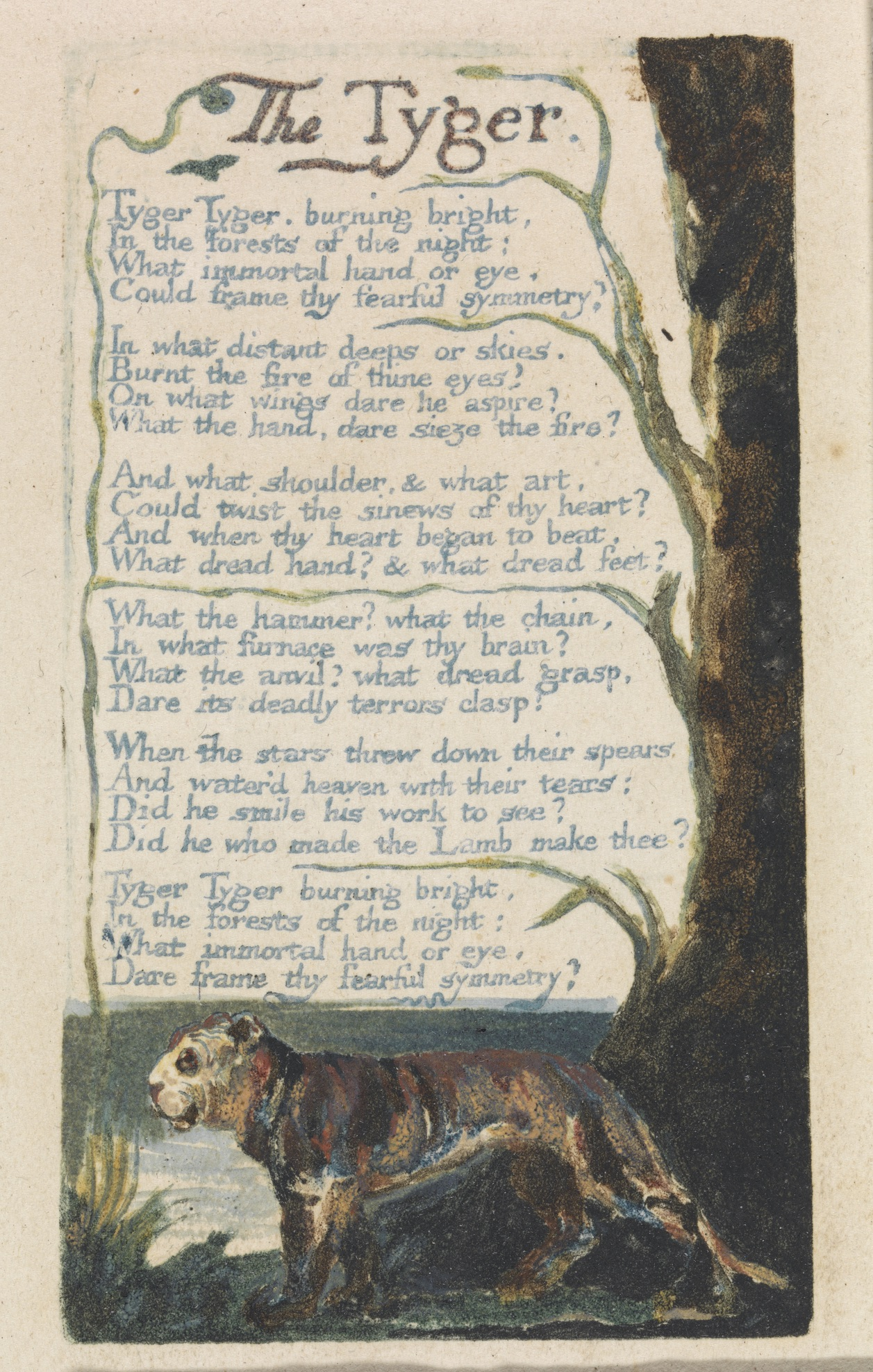 """William Blake, """"The Tyger,"""" from Songs of Innocence and of Experience, plate 42, 1794, color-printed relief etching with watercolor on cream wove paper. Yale Center for British Art, Paul Mellon Collection."""