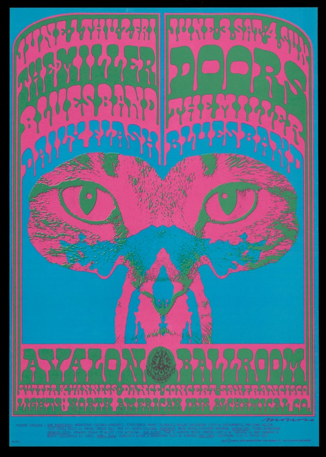 Victor Moscoso, The Doors, The Miller Blues Band, Daily Flash, June 1–4, 1967, Avalon Ballroom, San Francisco. Charles Deering McCormick Library of Special Collections, Northwestern University Libraries. © 1967, 1984, 1994 Rhino Entertainment Company. Used with permission. All rights reserved.