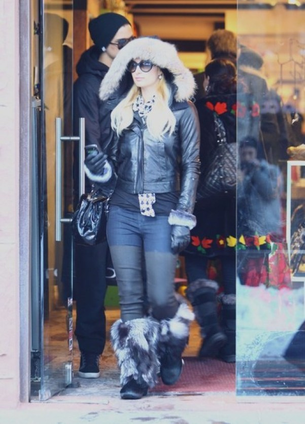 paris hilton leather pants aspen