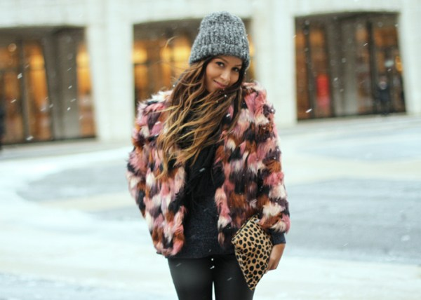 Sincerely Jules river island colored faux fur coat nyfw