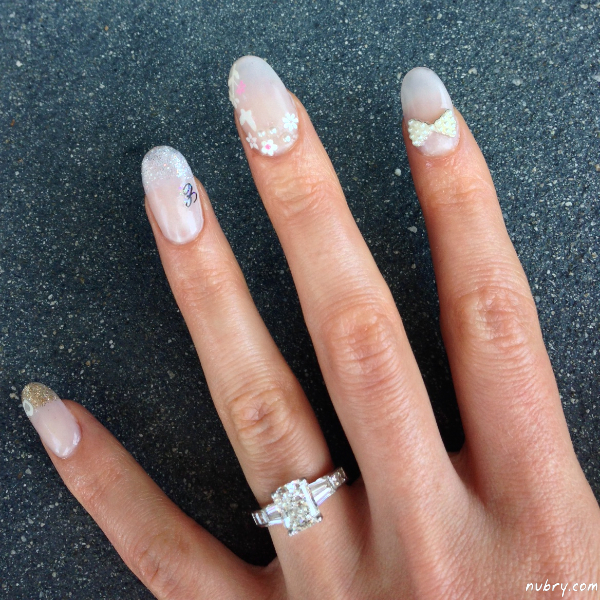 Pretty bridal nails with 3d nail art and white rose for my wedding click to share on twitter opens in new window prinsesfo Choice Image