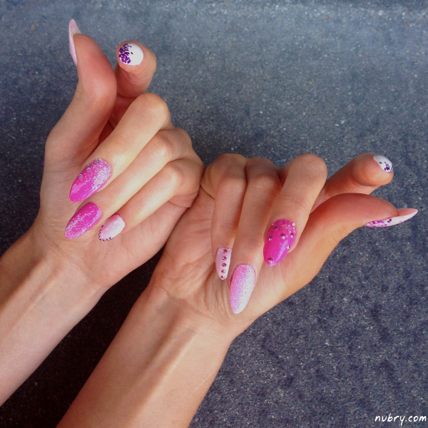 Stiletto Nail Art With Diamonds: Bachelorette Party Stiletto Nails With Glitter And Diamond