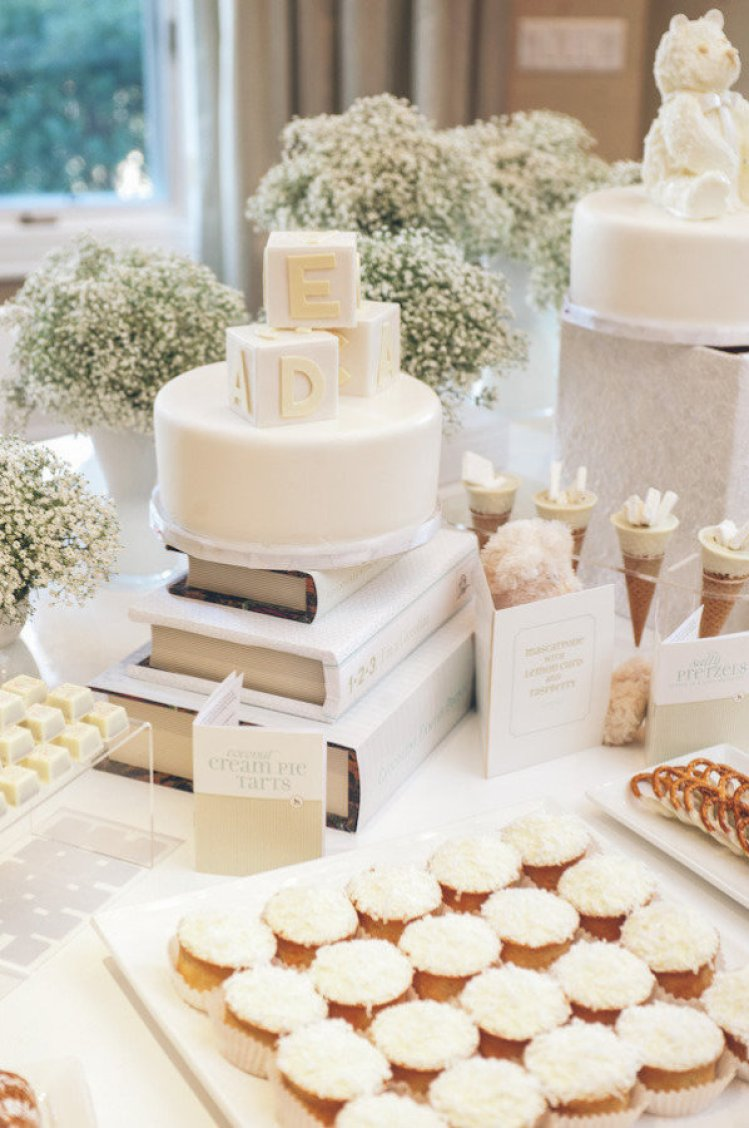 white dessert table - winter baby shower ideas