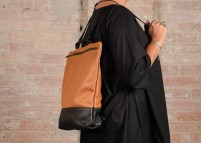Leather Backpack Hibrid black % brown