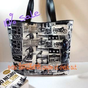 Motorcycle Newsprint Diaper Bag, Large Shoulder Bag