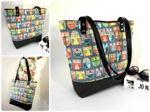 Owls Zipper Tote Bag