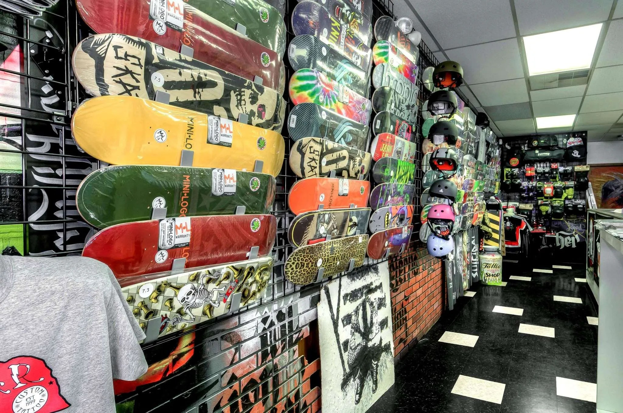 Nuclear Ink Skateshop decks and helmets