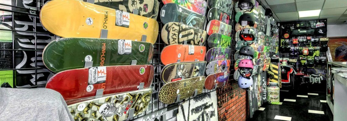 Nuclear Ink Skateshop decks and helmets