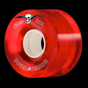 63mm Powell Peralta Clear Cruiser Skateboard Wheels Red 80A