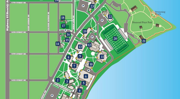 Custom Map Illustrations   nuCloud Bemidji State University 2D Vector Campus Map with Implied Height