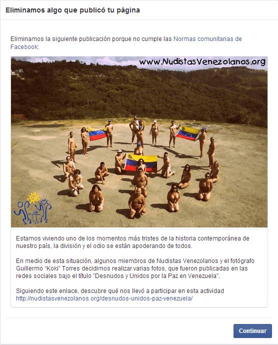 Facebook censura desnudos por la paz