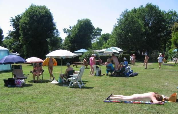 The beautiful lawns at Woodpecker in Wales Naturist Club