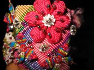Brazalete Seda Flor Rosada