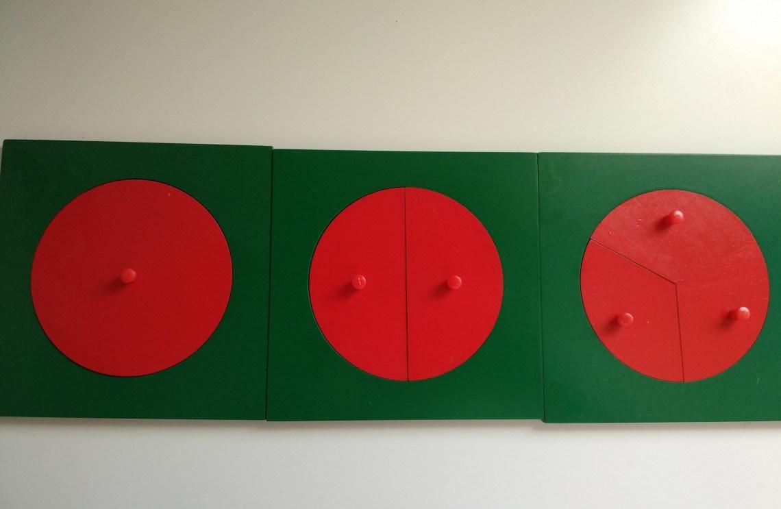 círculos de fracciones Montessori